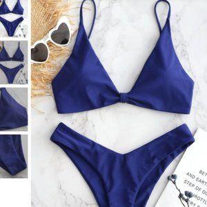 Zaful High Leg Knot Bikini Set Denim blue